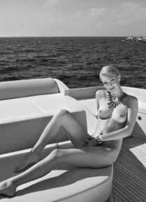 Model appeared on cover, PB Slovenia Playmate of the Year 2009, yacht, boat, sea, barefoot